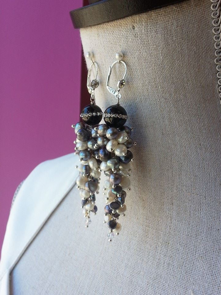 FRESHWATER PEARLS AND BLACK ONYX SWAROVSKI CRYSTALS LONG STATEMENT EARRINGS