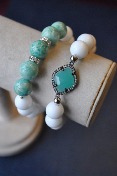 AMAZONITE AND AGATE BRACELET SET