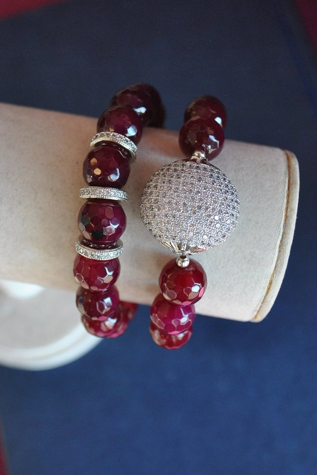 CHERRY AGATE AND RHINESTONES STRETCHY STATEMENT BRACELETS SET