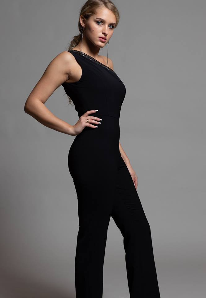 BLACK ASYMMETRIC JUMPSUIT WITH DIAMOND TRIM