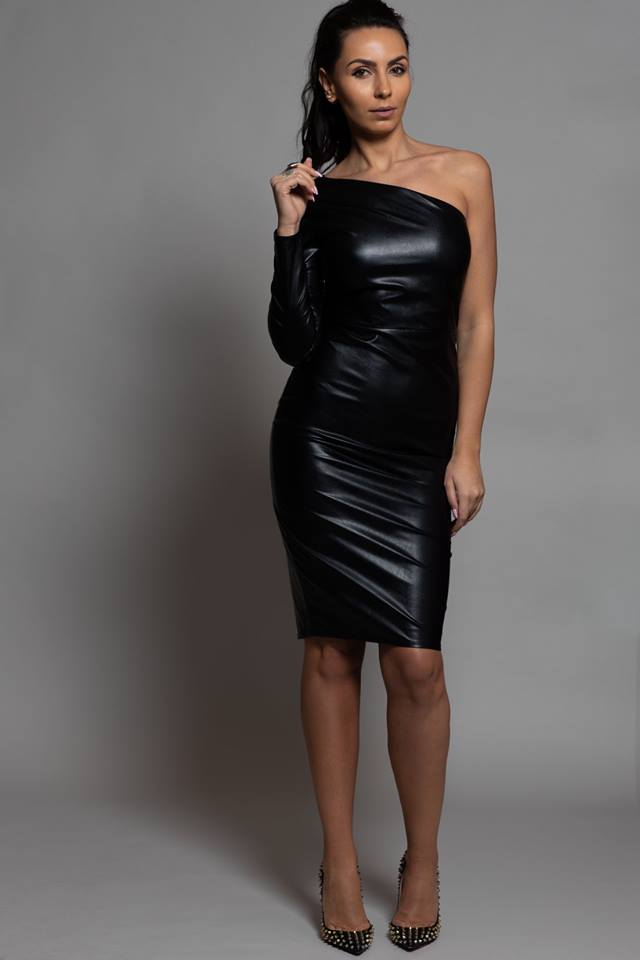 BLACK FAUX LEATHER ONE SLEEVE FIT MIDI DRESS
