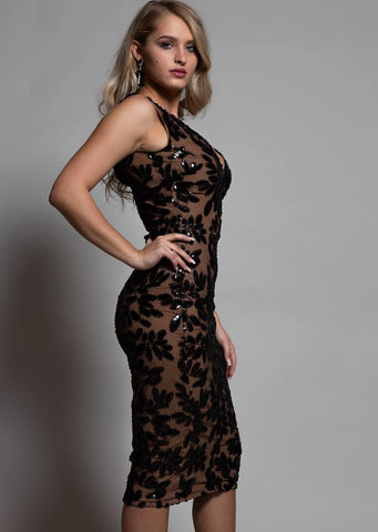 CLEARANCE - BLACK AND BEIGE LACE DRESS WITH OPEN BACK