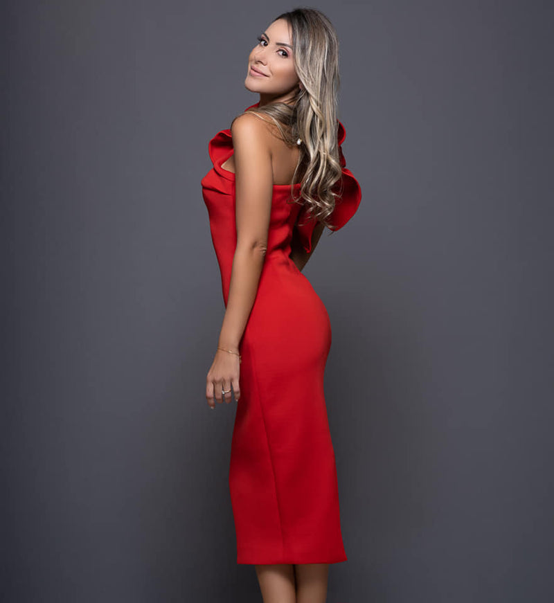RED MIDI ASYMMETRIC DRESS WITH SIDE RUFFLE