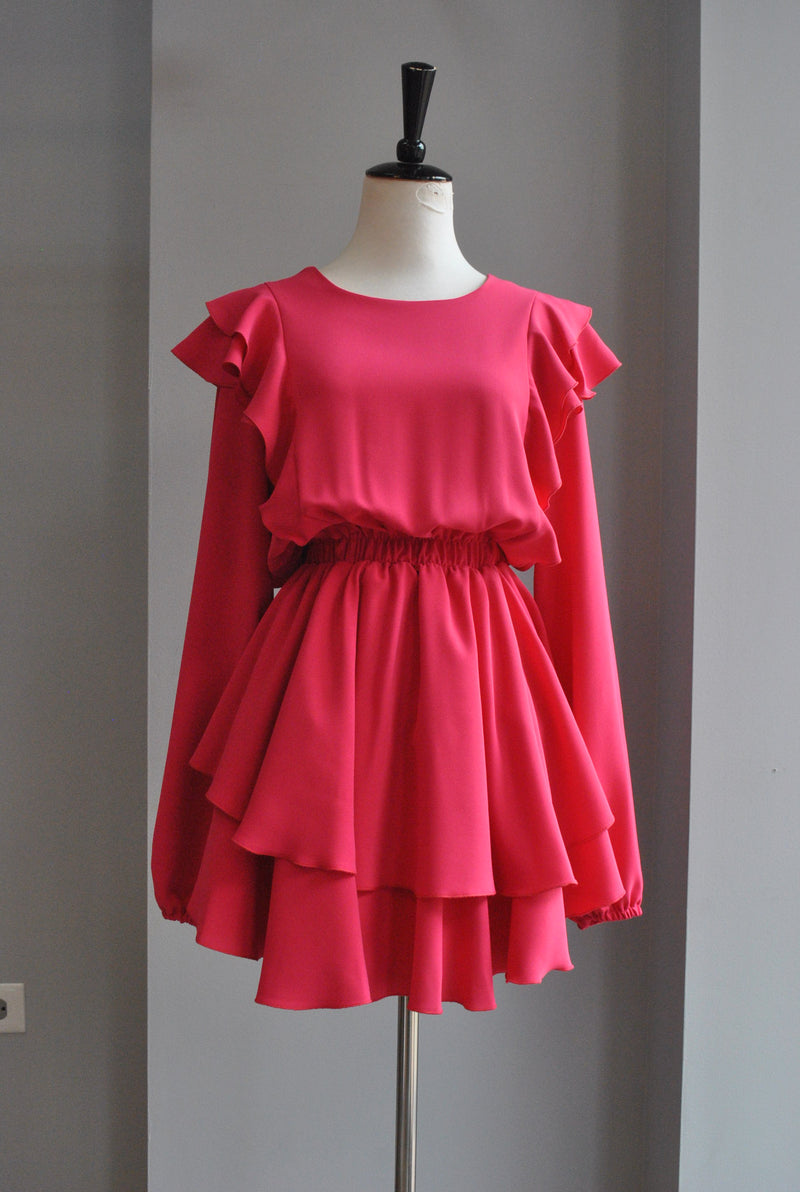 LIGHT BEIGE OPEN STYLE COAT WITH SHORT FUR SLEEVES