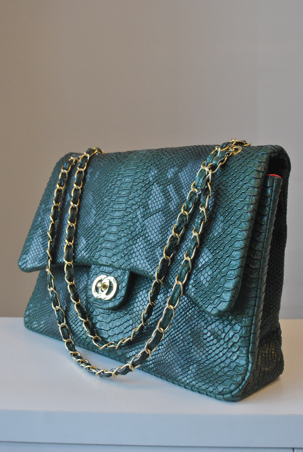 EMERALD GREEN CROCODILE LOOK BIG SHOULDER BAG