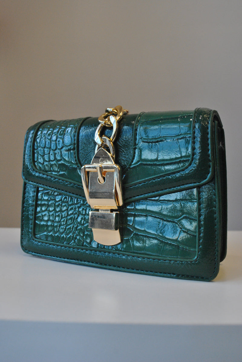 EMERALD GREEN CROSSBODY HANDBAG
