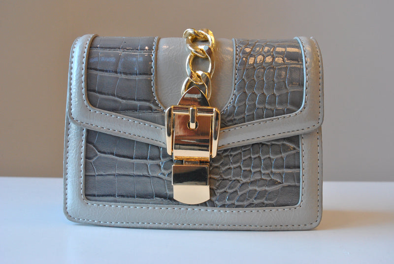 SMALL LIGHT GREY CROSSBODY BAG WITH GOLD CHAIN