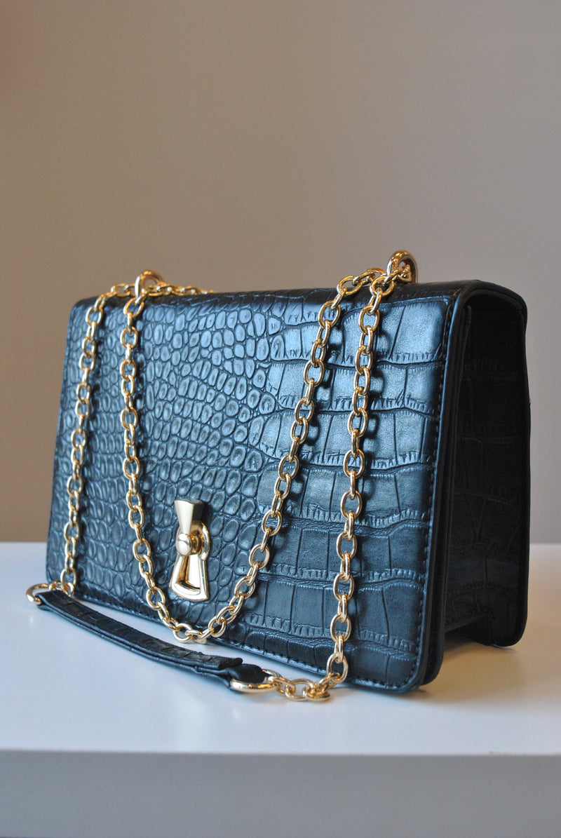 BLACK FAUX CROCODILE LEATHER CROSSBODY HANDBAG