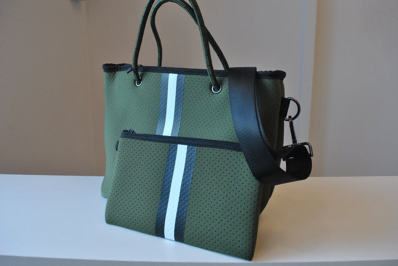 OLIVE GREEN MINI TOTE WITH A BLACK WHITE STRIPE