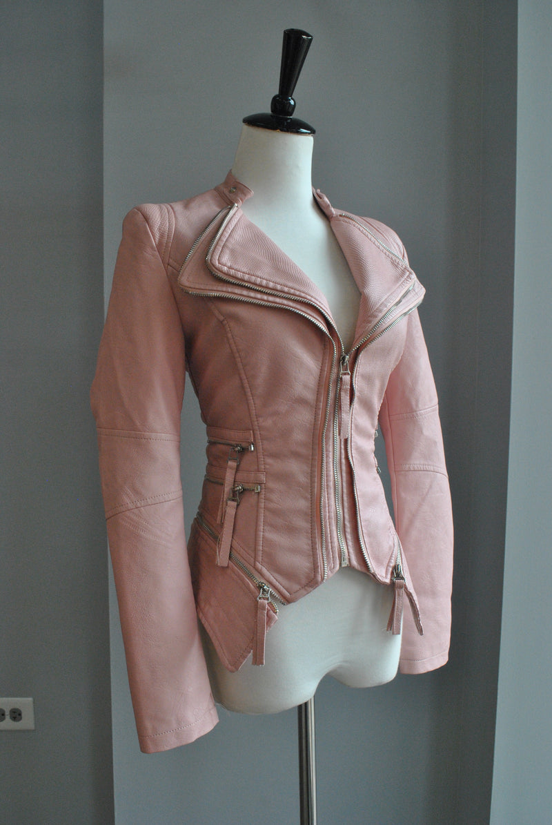 BLUSH PINK FAUX LEATHER FIT CROPPED JACKET