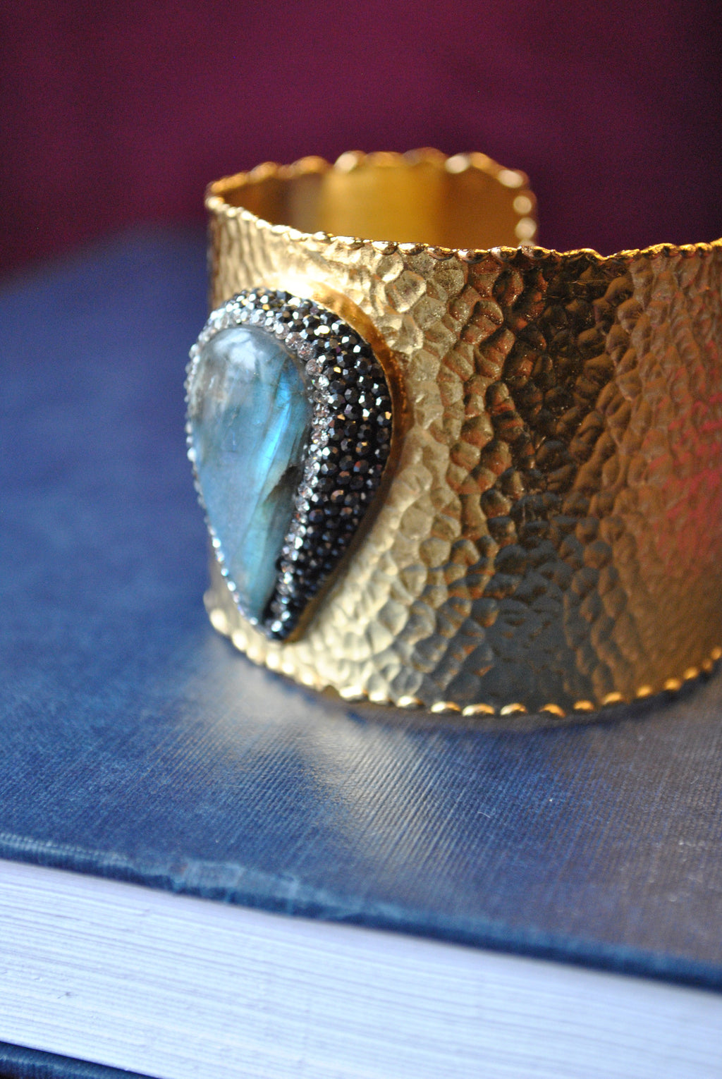 LABRADORITE AND SWAROVSKI CRYSTALS BRASS CUFF