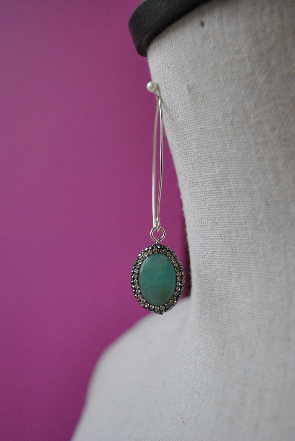 AMAZONITE AND SWAROVSKI CRYSTALS LONG EARRINGS