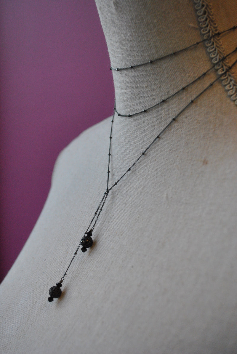 STERLING SILVER IN GUNMETAL FINISH WRAP NECKLACE