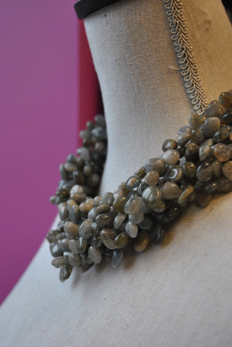 LABRADORITE FREEFORMS MULTISTRAND STATEMENT NECKLACE