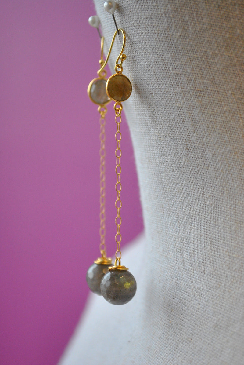 LABRADORITE ON GOLD LONG EARRINGS