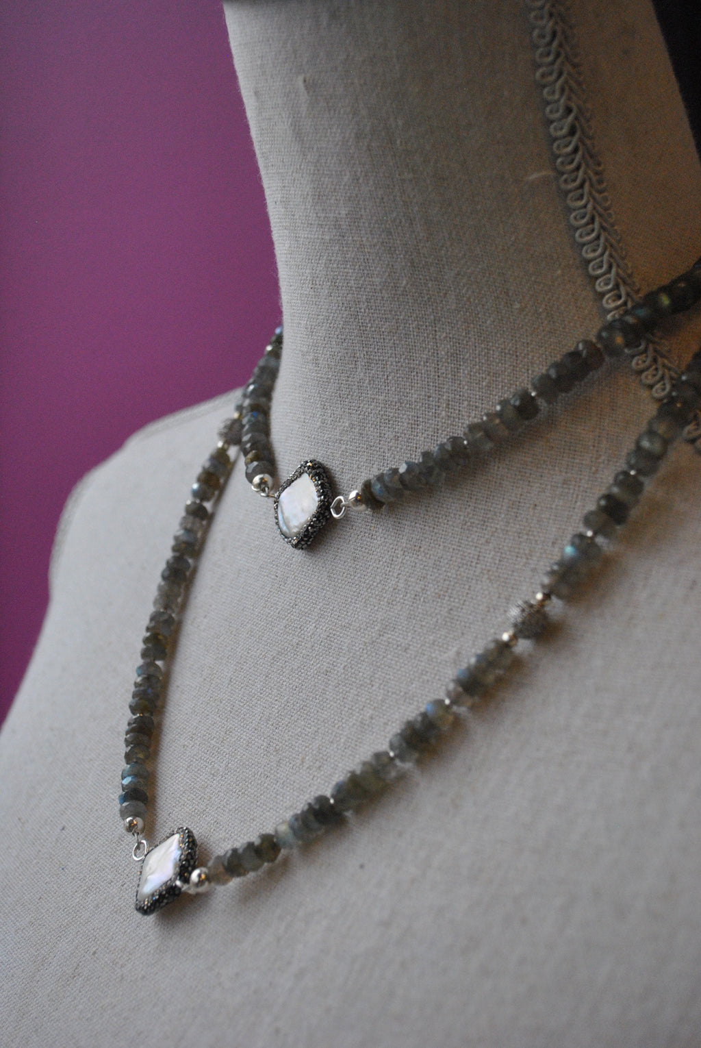 LABRADORITE AND MOTHER OF PEARLS LONG NECKLACE OR A WRAP BRACELET