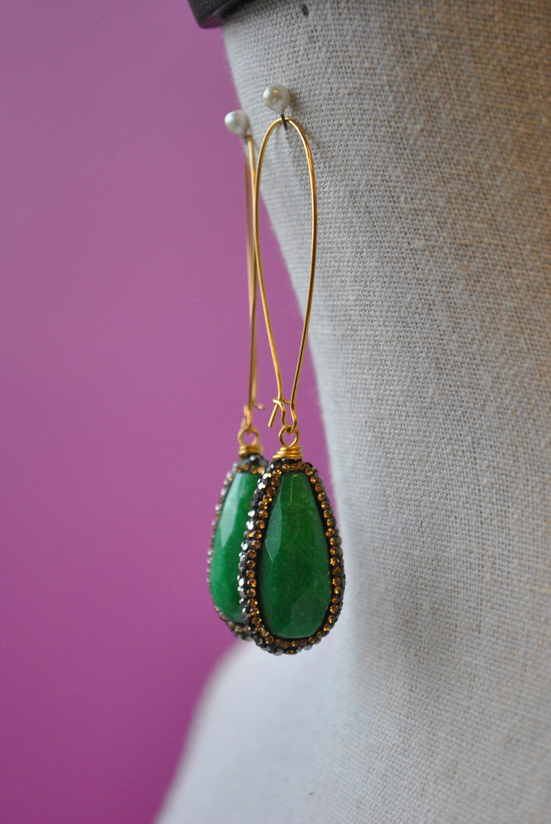 GREEN JADE AND SWAROVSKI CRYSTALS LONG STATEMENT EARRINGS