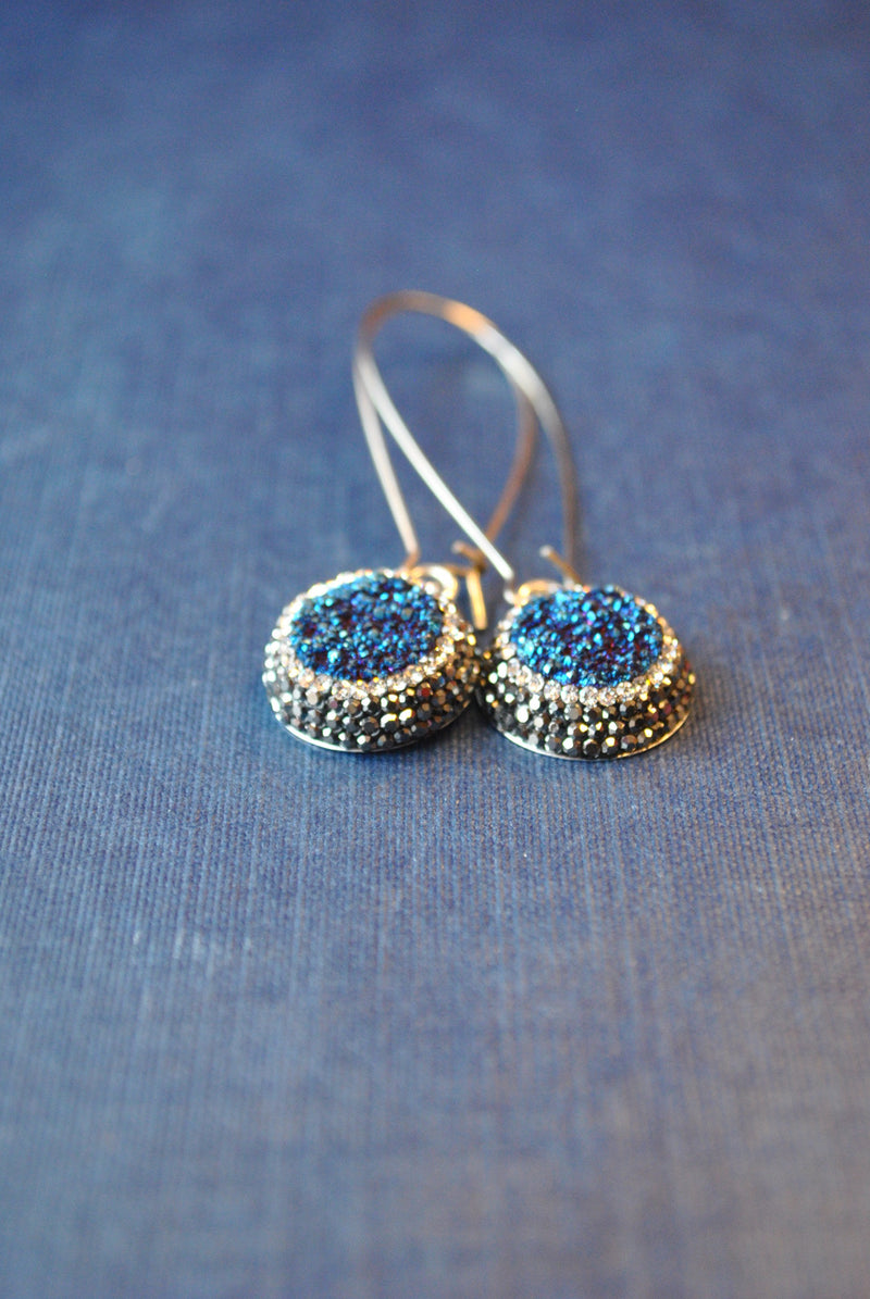ROYAL BLUE DRUZY AND SWAROVSKI CRYSTALS LONG EARRINGS