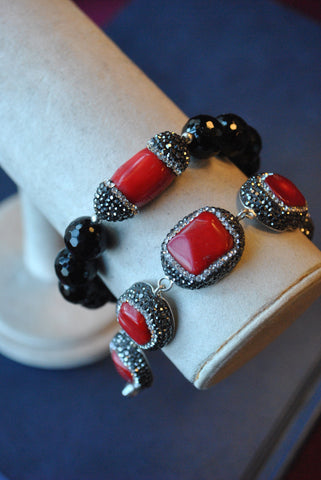 BLACK ONYX DRUZY AND CRYSTALS STRETCHY BRACELETS SET
