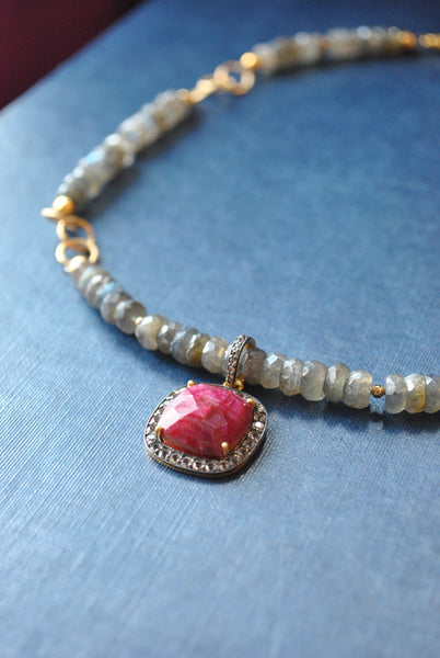 LABRADORITE AND RUBY PENDANT GOLD NECKLACE