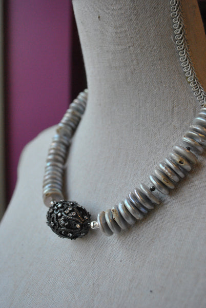 SILVER MOTHER OF PEARLS AND RHINESTONES STATEMENT NECKLACE