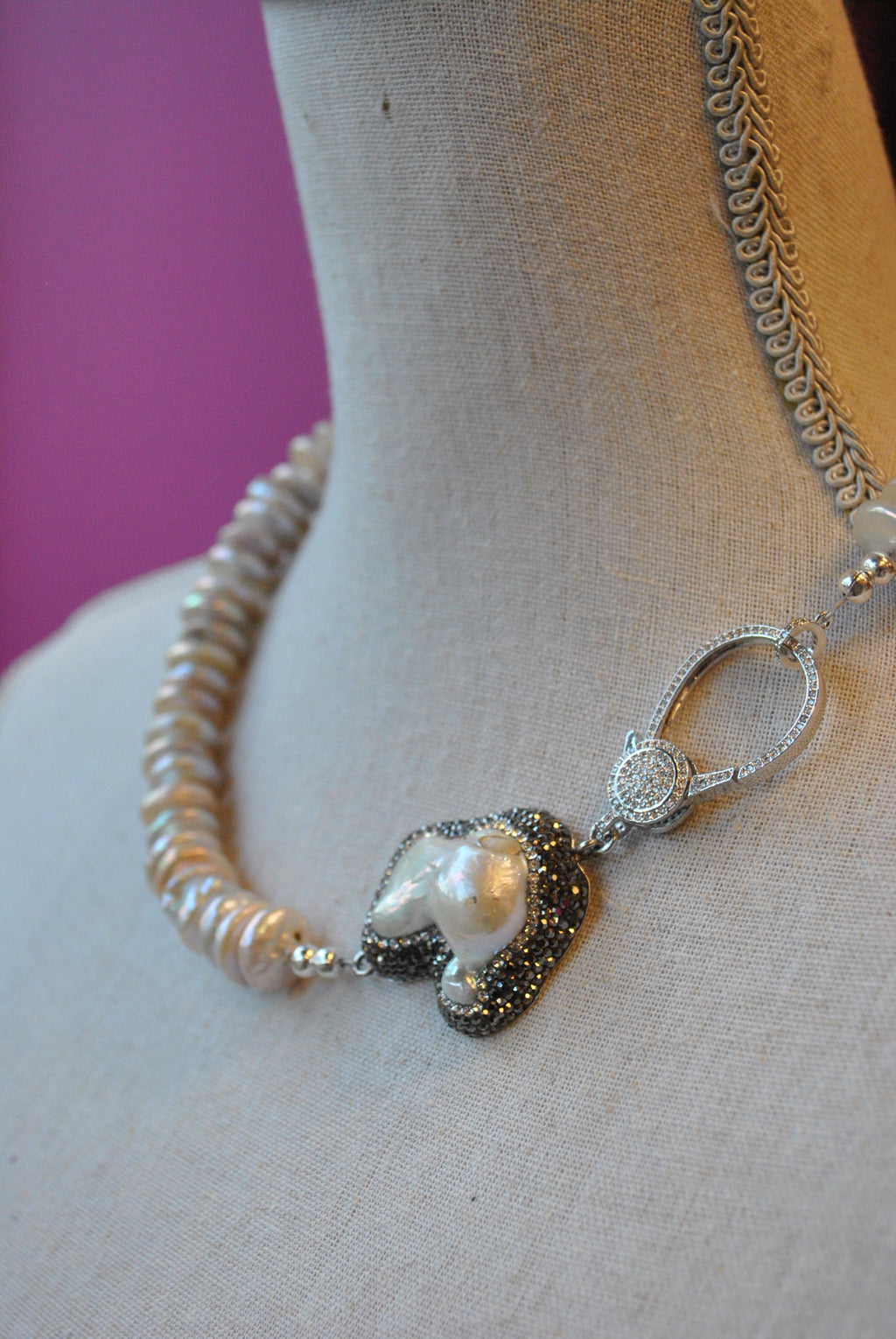 MOTHER OF PEARLS AND COIN FRESHWATER PEARLS ASYMMETRIC STATEMENT NECKLACE