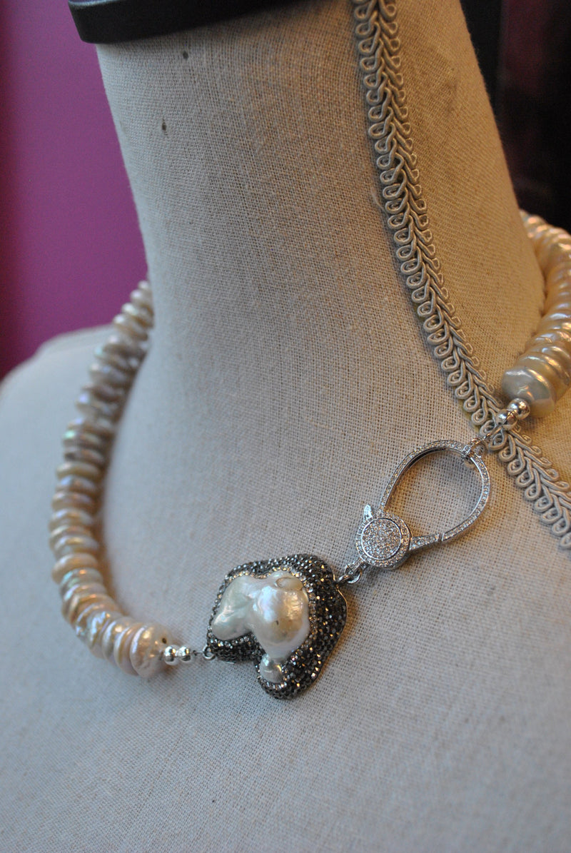 WHITE FRESHWATER PEARLS ASYMMETRIC STATEMENT NECKLACE