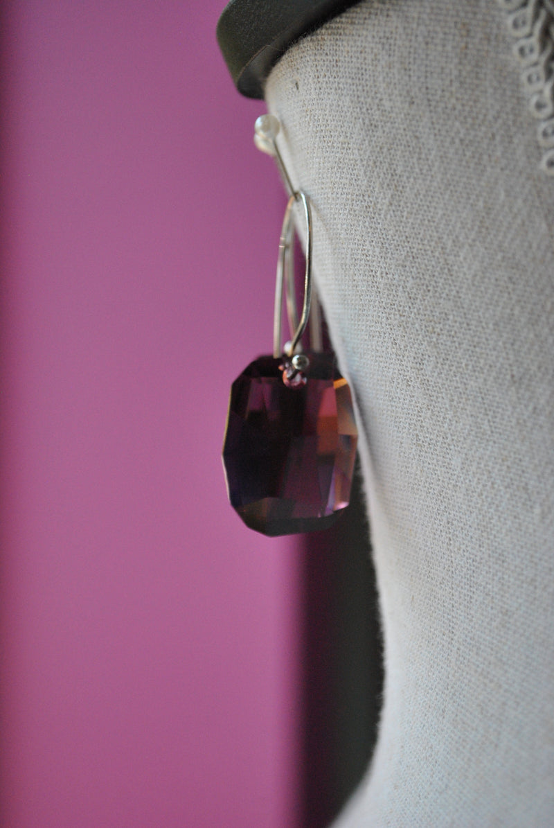 PURPLE SWAROVSKI CRYSTALS STATEMENT EARRINGS
