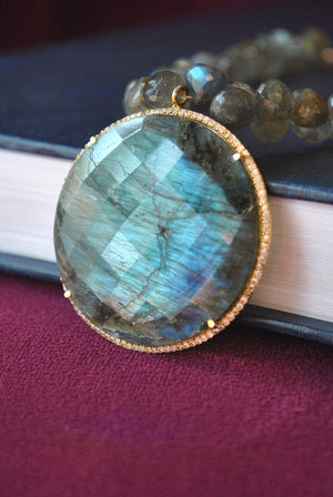 LABRADORITE TEARDROP AND COIN PENDANT ON GOLD NECKLACE