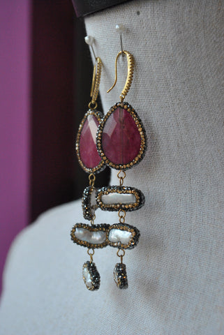 FASHION COLLECTION - CHAMPAGNE CRYSTAL STATEMENT EARRINGS