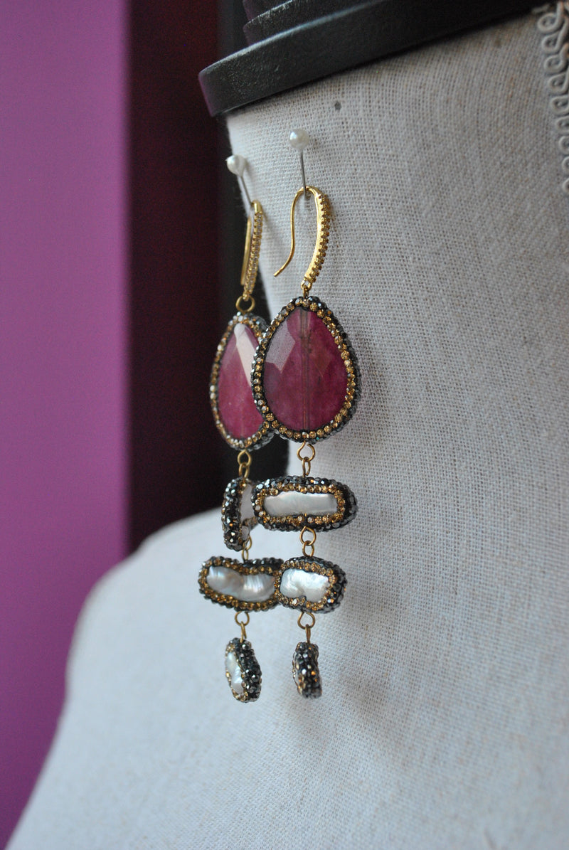 FUCHSIA AGATE AND MOTHER OF PEARLS WITH  SWAROVSKI CRYSTALS STATEMENT EARRINGS
