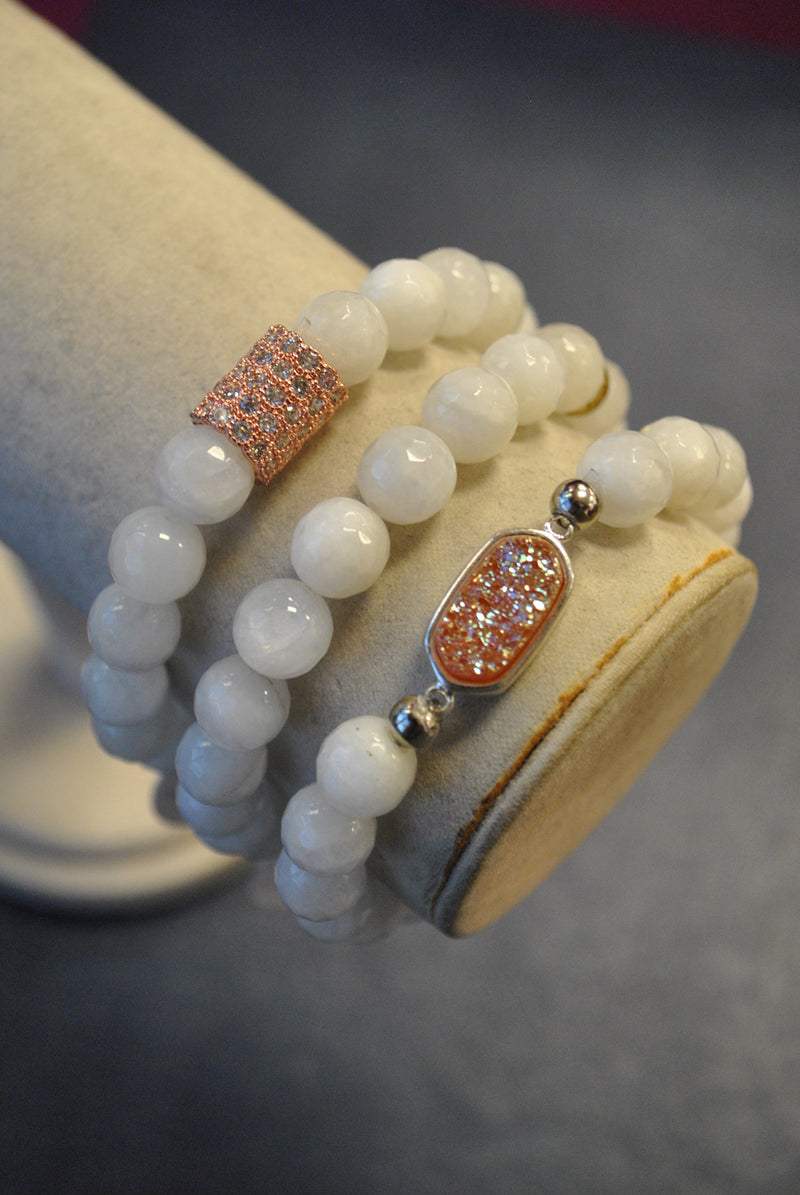 MOONSTONE AND PEACH DRUZY ROSE GOLD RHINESTONES STRETCHY BRACELETS SET