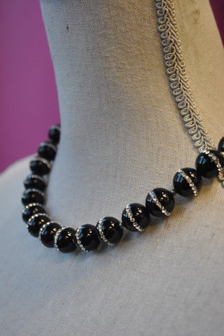 MOONSTONE, BLACK DRUZY AND CRYSTALS OVERSIZE LONG CHAIN PENDANT