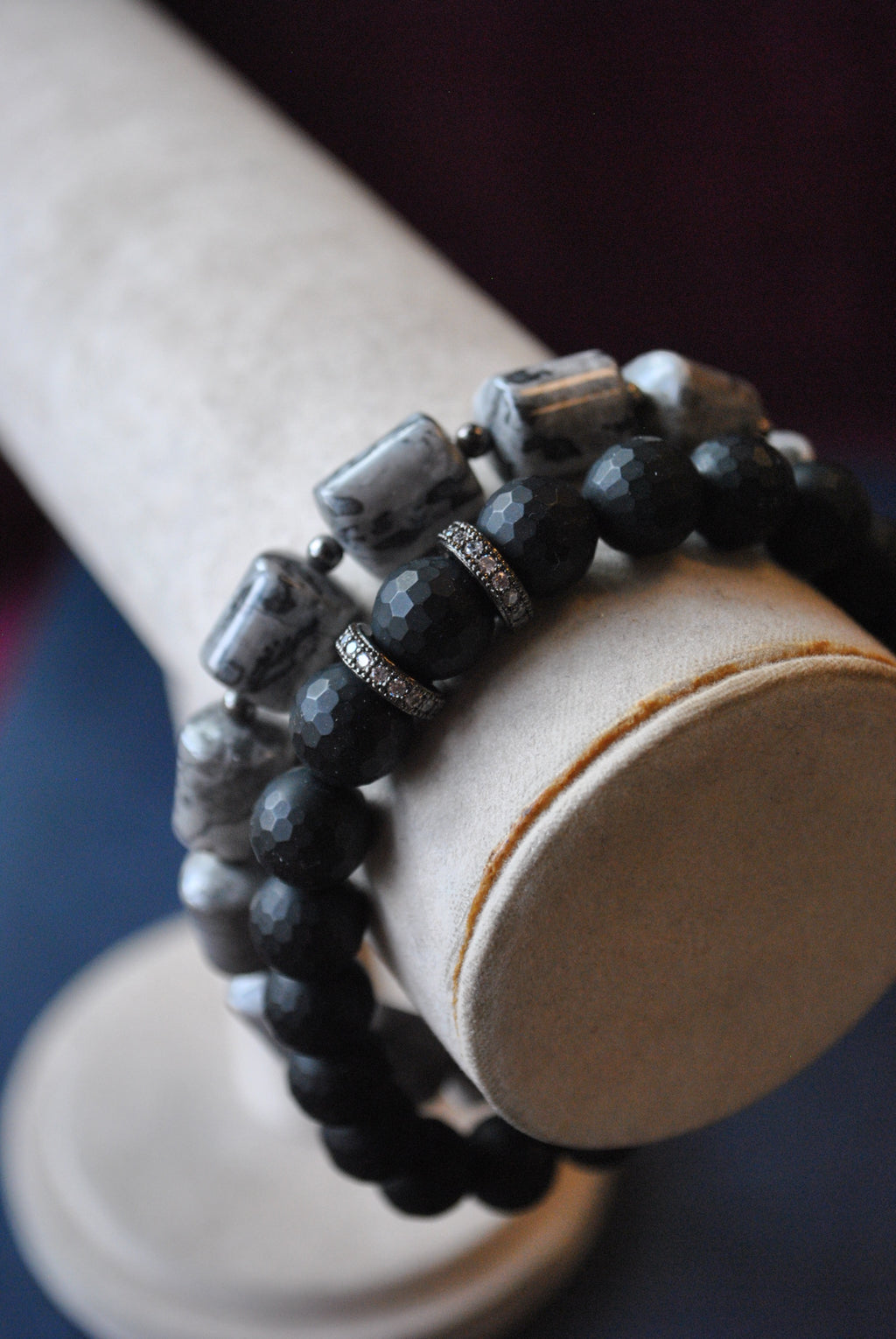 MEN COLLECTION - SILVER JASPER AND FROZEN OBSIDIAN STRETCHY BRACELETS SET