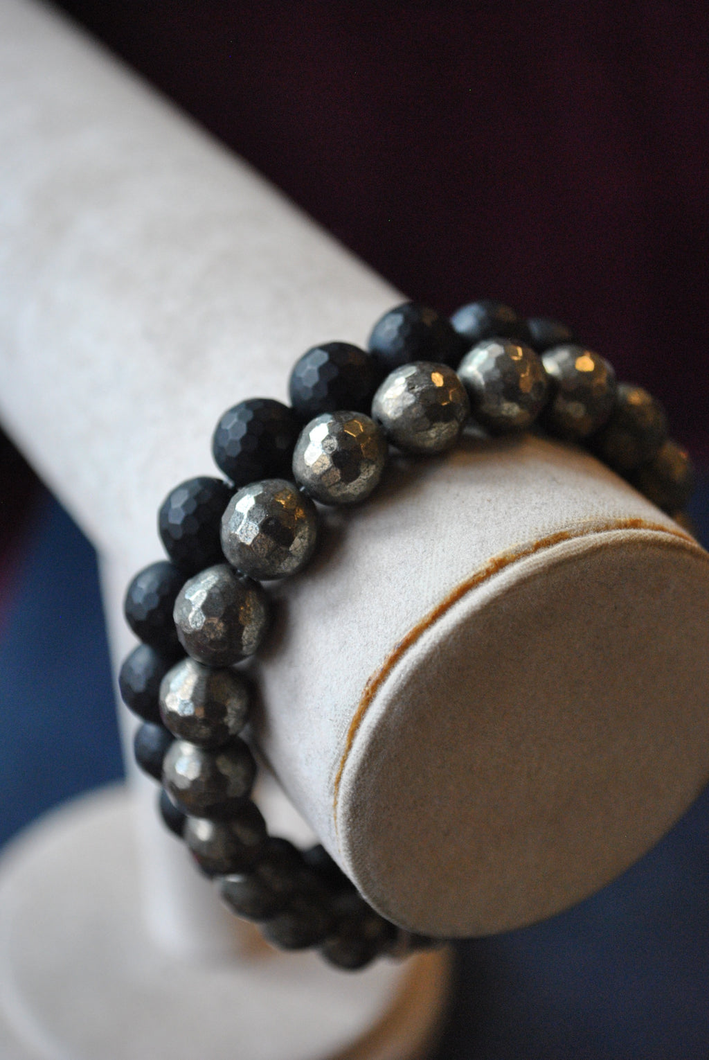 MEN COLLECTION - PYRITE AND OBSIDIAN STRETCHY BRACELETS SET