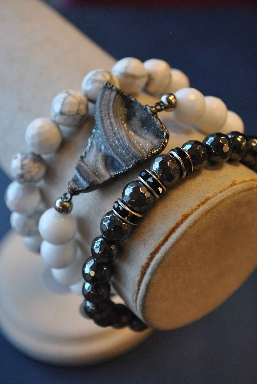 MAGNESITE AND HEMATITE AND WHITE AGATE WITH SILVER DRUZY STRETCHY BRACELETS SET