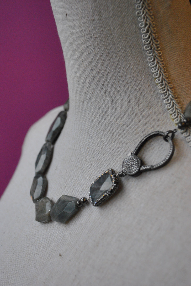 LABRADORITE AND SWAROVSKI CRYSTALS ASYMMETRIC NECKLACE