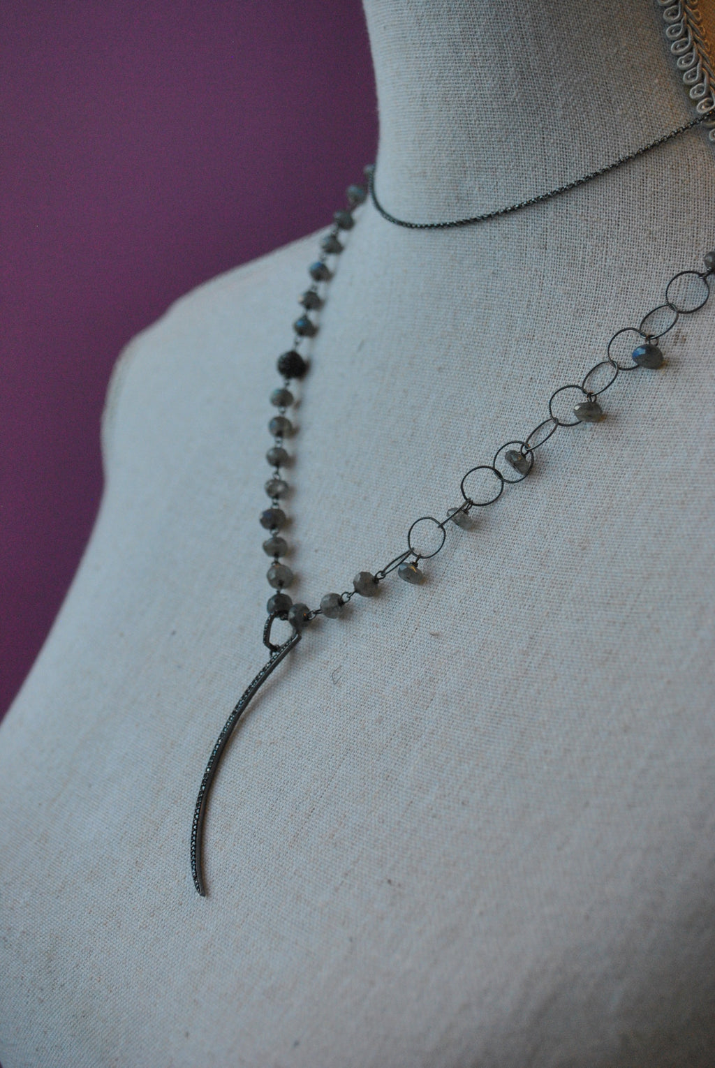 NATURAL LABRADORITE RONDELLES AND RHINESTONES MOON PENDANT STERLING SILVER LONG DELICATE NECKLACE