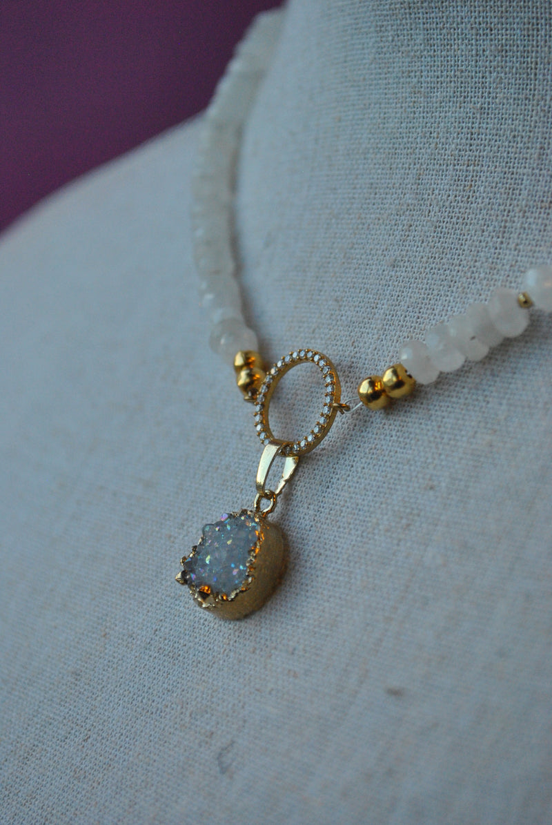 WHITE MOONSTONE AND WHITE DRUZY PENDANT DELICATE NECKLACE