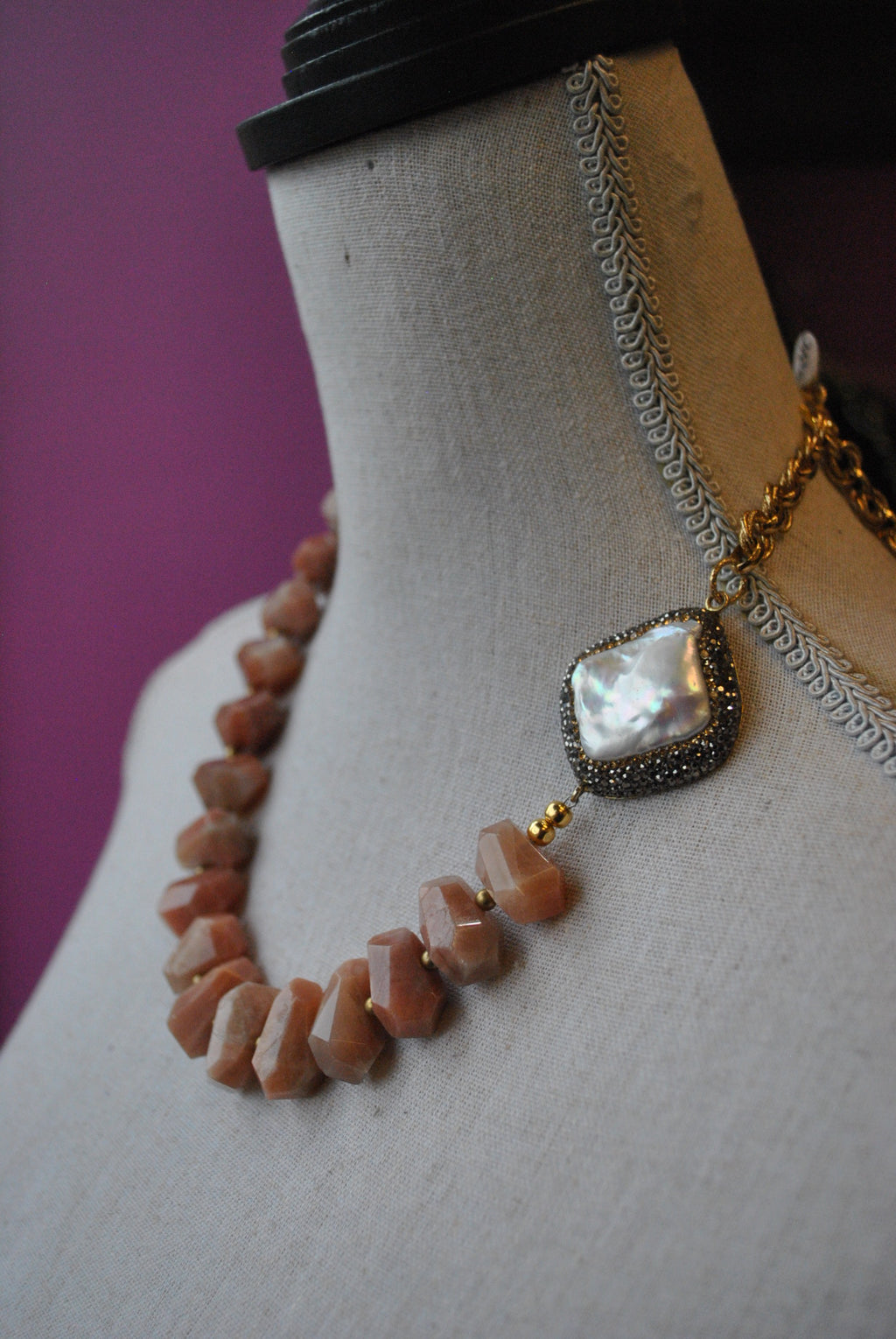 ORANGE SUNSTONE AND MOTHER OF PEARLS WITH SWAROVSKI CRYSTALS ASYMMETRIC NECKLACE