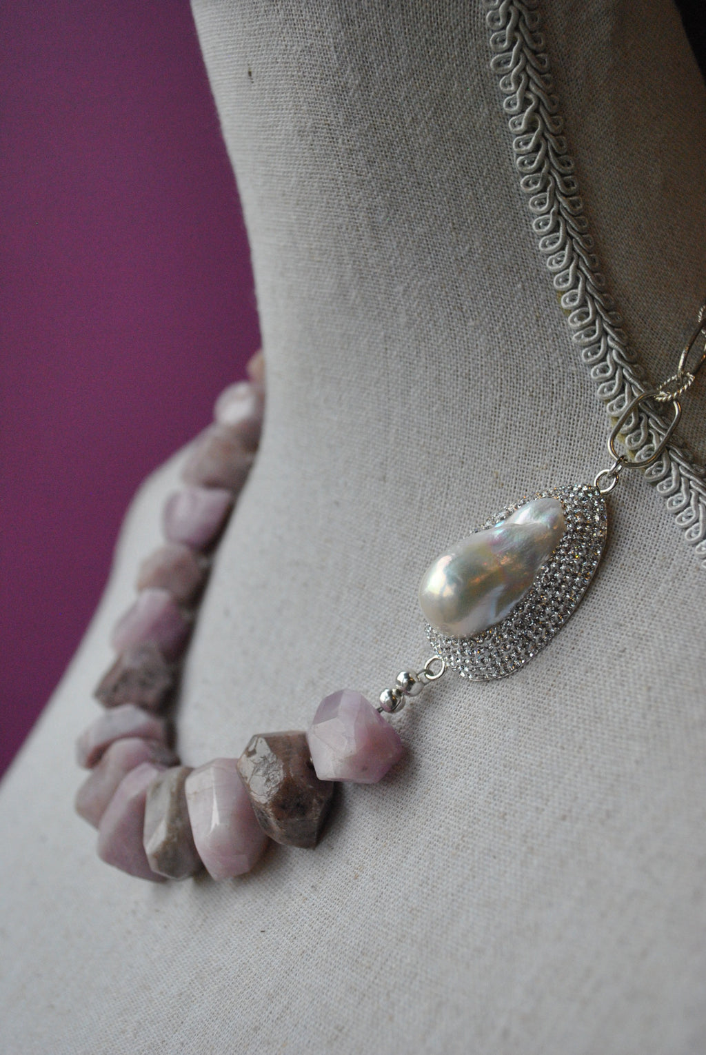 LAVENDER KANZANITE WITH MOTHER OF PEARLS AND SWAROVSKI CRYSTALS ASYMMETRIC STATEMENT NECKLACE