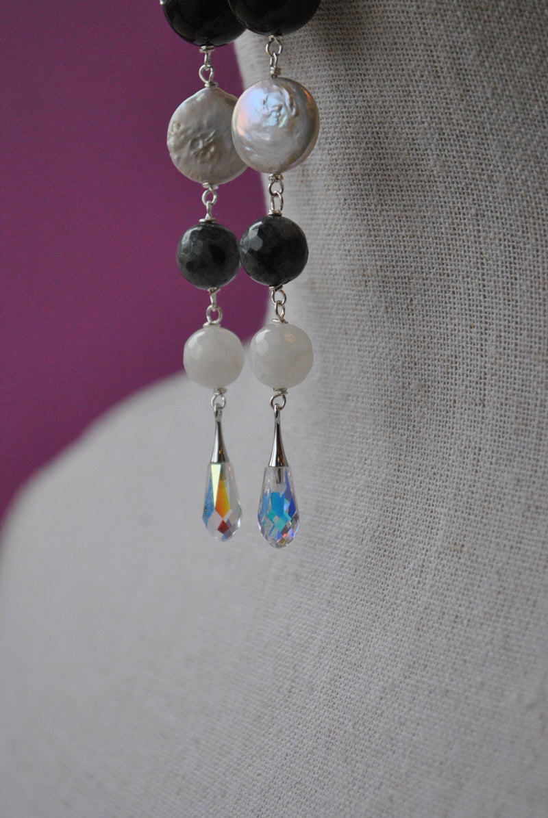 WHITE AND BLACK MULTISTONES LONG EARRINGS WITH SWAROVSKI CRYSTALS