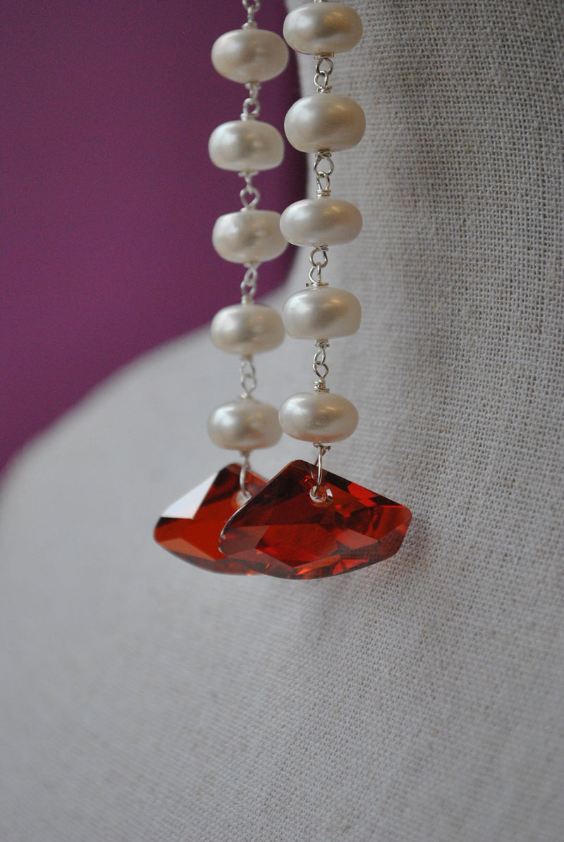 RED MAGMA SWAROVSKI CRYSTALS AND WHITE FRESHWWATER PEARLS LONG EARRINGS