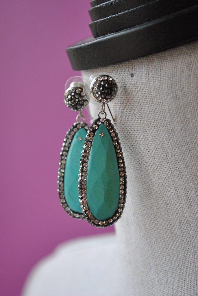 TURQUOISE AND SWAROVSKI CRYSTALS TEARDROPS