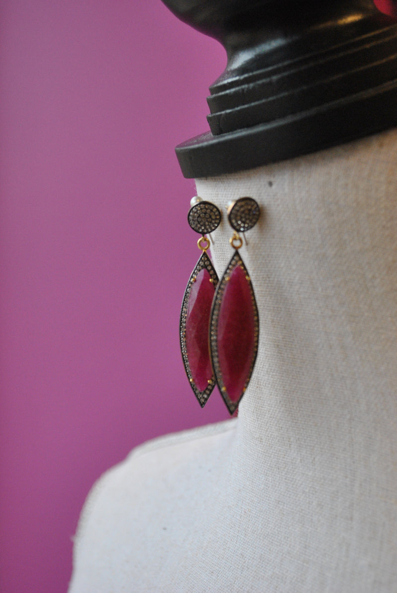 RUBY AND RHINESTONES STATEMENT EARRINGS
