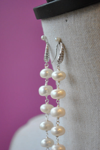 WHITE FRESHWATER PEARLS AND GUNMETAL SWAROCSKI CRYSTALS LONG STATEMENT EARRINGS