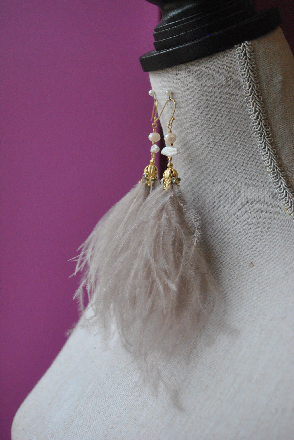 FEATHERS AND CRYSTALS LONG STATEMENT EARRINGS