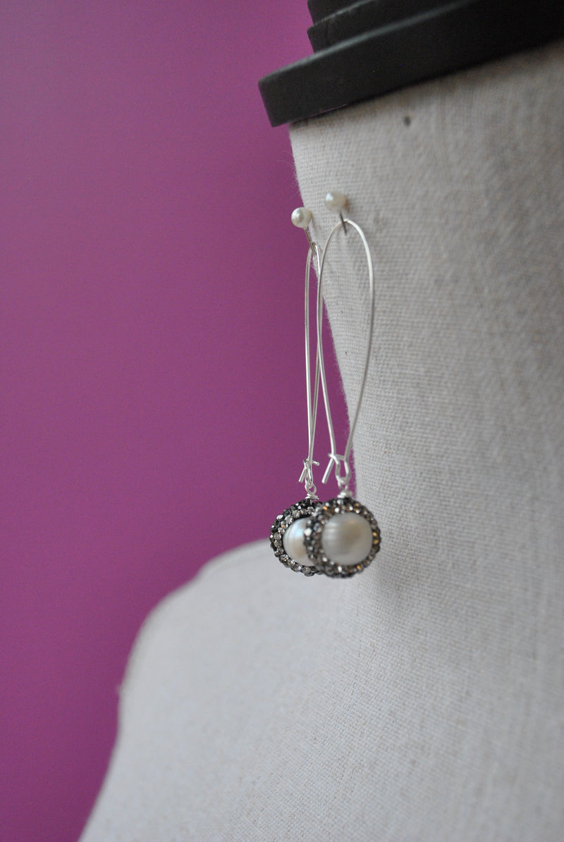 MOTHER OF PEARLS SWAROVSKI CRYSTALS LONG EARRINGS