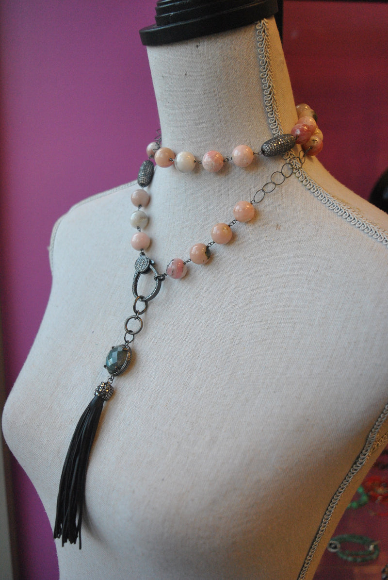 PINK PERUVIAN OPAL LONG NECKLACE WITH DETACHABLE LABRADORITE AND LEATHER TASSEL PENDANT