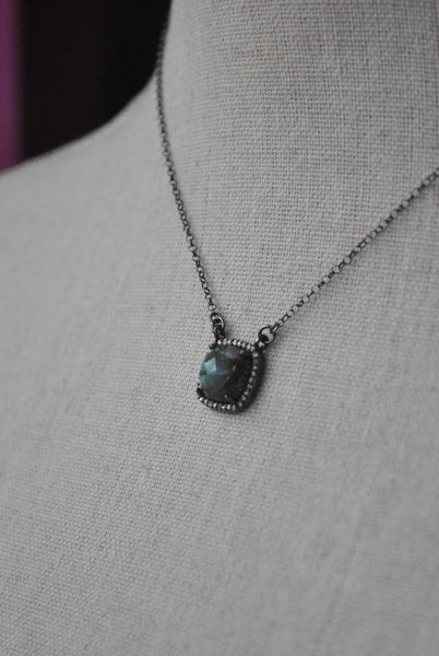 LABRADORITE CUBE GUNMETAIL FINISH PENDELICATE NECKLACE